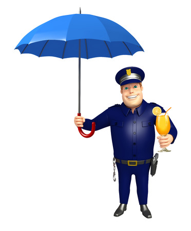 Police with Umbrella & Juice glass