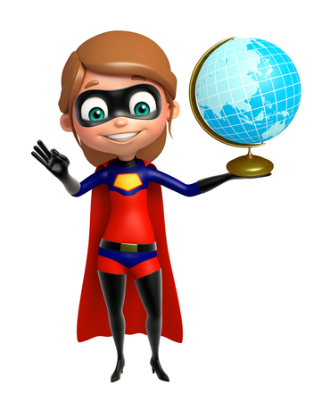 supergirl: supergirl with Earth Stock Photo