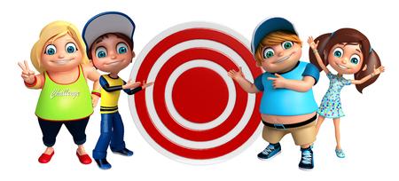 dart board: kid girl and kid boy with Dart board