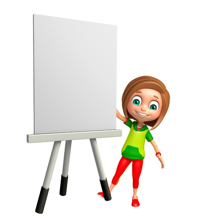 white board: kid girl with white board Stock Photo
