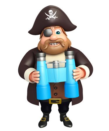 tricorne: 3d rendered illustration of pirate with binocular