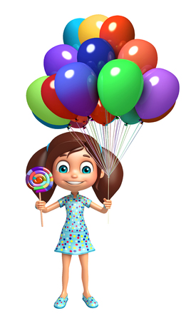 lollypop: kid girl with Lollypop and Balloon