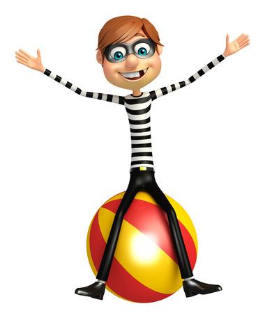 big ball: Thief with Big ball Stock Photo