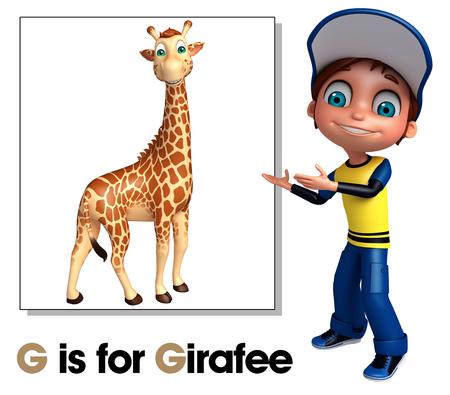 Kid boy pointing Girafee