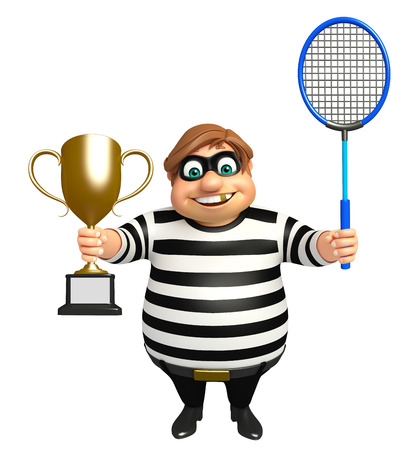 kidnapper: Thief with Winning cup & Badminton Stock Photo