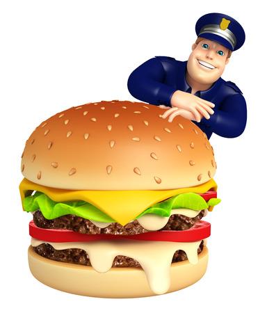 ハンバーガーと警察 写真素材