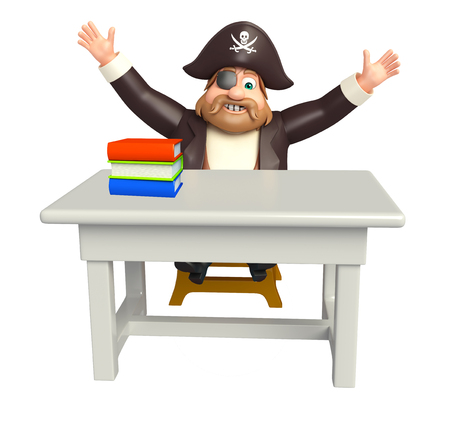 Pirate with Book stack & table,chair Stock Photo