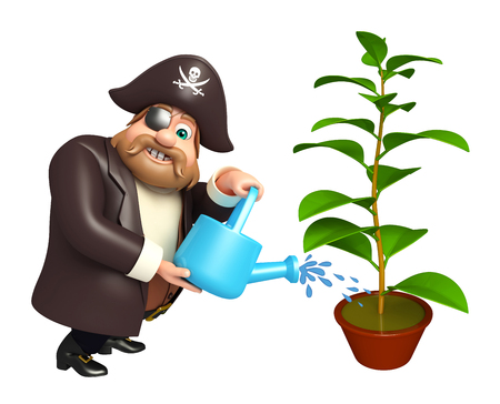 Pirate with Plant &  watering can Фото со стока