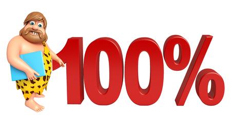 Caveman with 100% sign Zdjęcie Seryjne