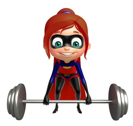 supergirl: supergirl with Gym equipment