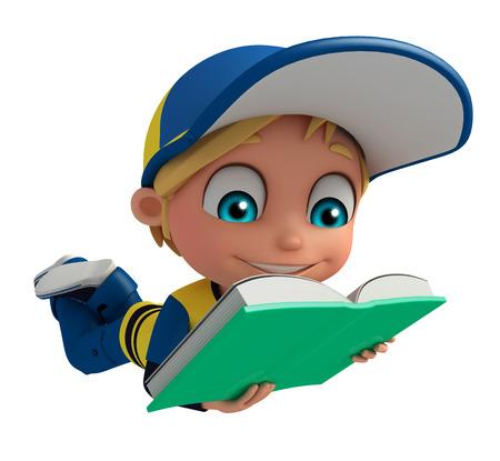 Kid jongen met boek Stockfoto