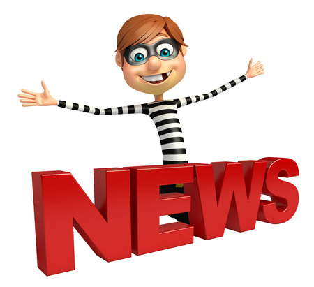 Thief with News sign Stock Photo
