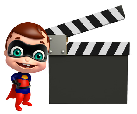 heroic: cute superbaby with Clapper board