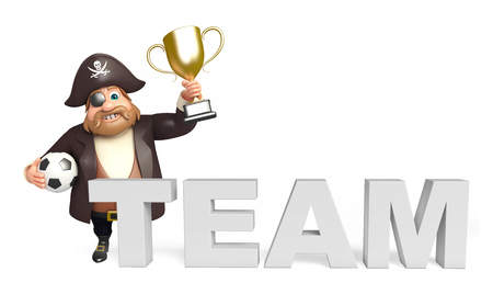 tricorne: Pirate with Winning cup & football,team sign