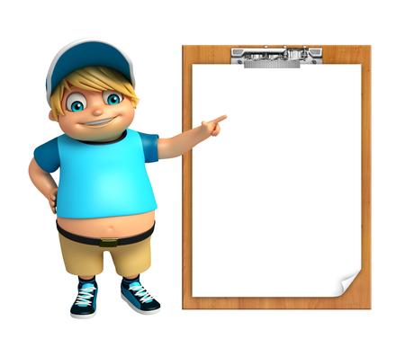 pad: kid boy with Exam pad