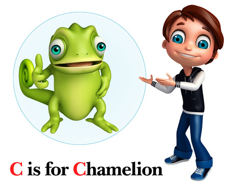 Kid boy pointing Chamelion Stock Photo