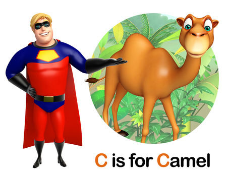 zoo dry: Super hero pointing Camel