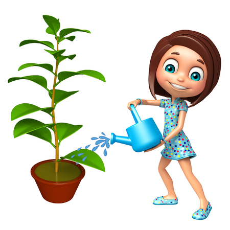 kid girl with Watering can and plant Stock Photo