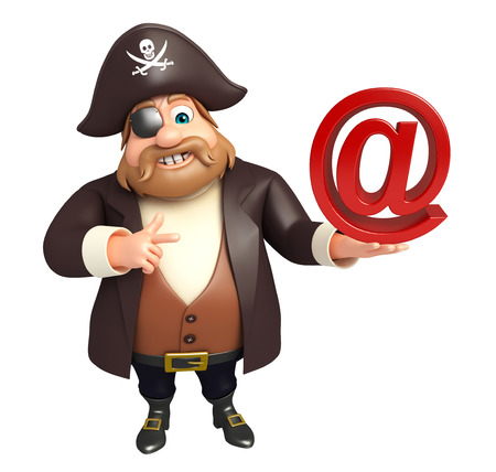 tricorne: Pirate with At the rate sign Stock Photo