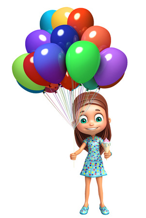 kid girl with Ice cream and balloon Zdjęcie Seryjne