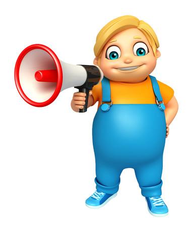 kid boy with  Loud speaker Reklamní fotografie