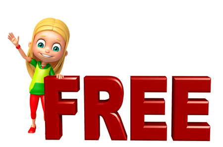 free sign: kid girl with Free sign