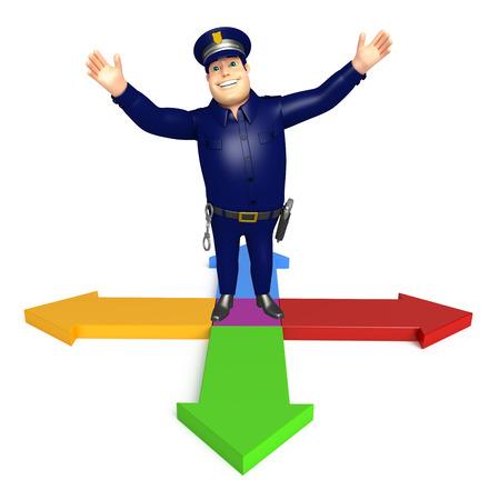 矢印記号と警察 写真素材