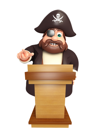 Pirate with Speech stage Stock Photo