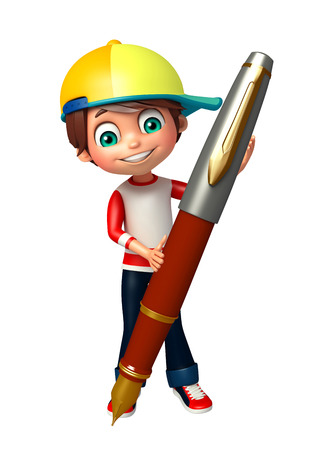 niño preescolar: kid boy with pen