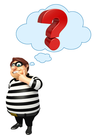 burgle: Thief with Question mark Stock Photo