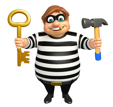 Thief with Hammer & key