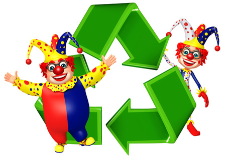 red nose: Clown with recycle sign