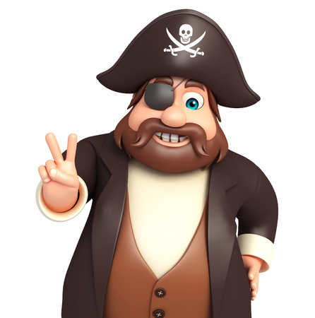 Pirate with Victory pose Stock Photo