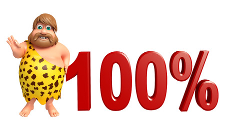 Caveman with 100% sign Stock Photo