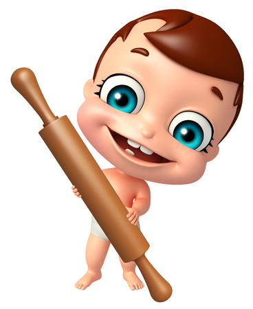 rolling pin: cute baby with Rolling pin