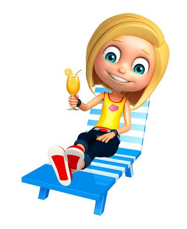 kid girl with Beach chair & Juice Glass