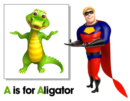Super hero pointing Alligator