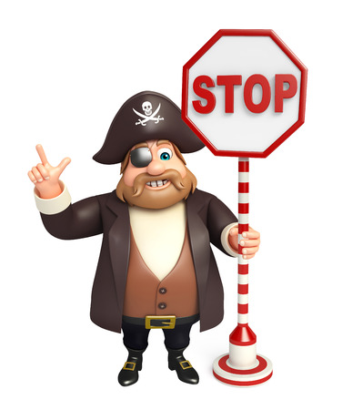 tricorne: Pirate with Stop sign