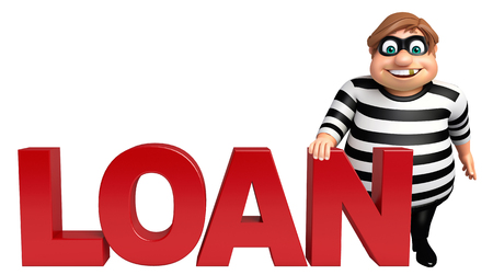 Thief with Loan sign