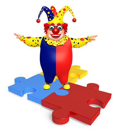 wig: Clown with Puzzle Stock Photo