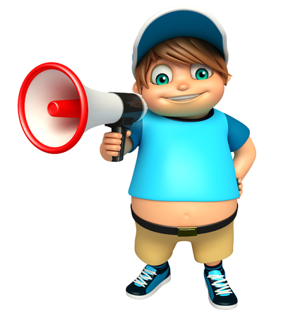 loud: kid boy with  Loud speaker Stock Photo