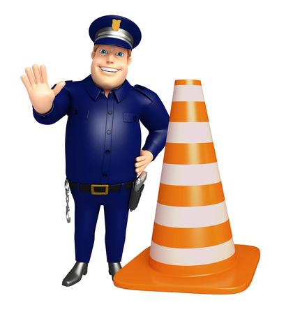 建設コーンと警察 写真素材