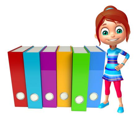 kid girl with Files Zdjęcie Seryjne