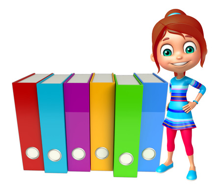 kid girl with Files Reklamní fotografie