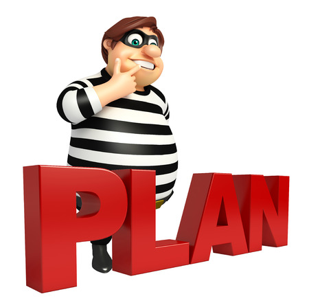 Thief with Plan sign Stock Photo