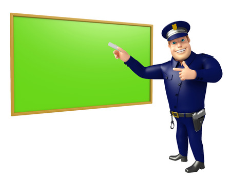 Police with Green board Stock Photo