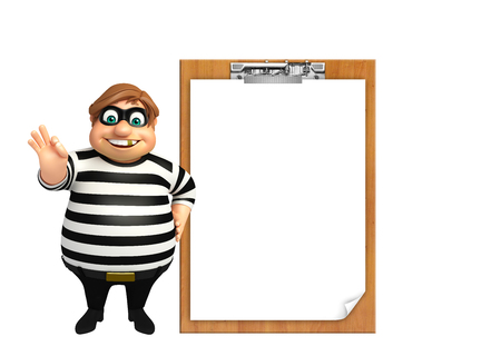 kidnapper: 3d rendered illustration of thief with notepad