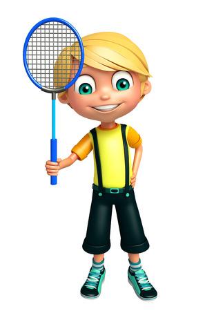 Kid boy with Badminton