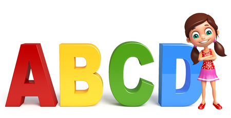abcd: kid girl with ABCD sign