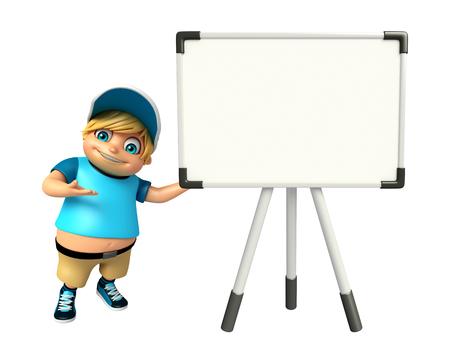 kid boy with Display board